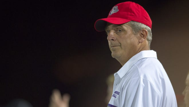 Brownsburg High School head coach John Hart during the first half. Brownsburg hosted Lawrence North in varsity football action Friday, August 26, 2016.