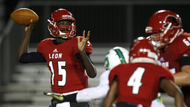 Leon quarterback Ty Glasco ran for a TD and threw for a TD in the Lions' 31-0 win over Suwannee to open the 2016 season. It was Leon's 600th win as a program, spanning 101 years.