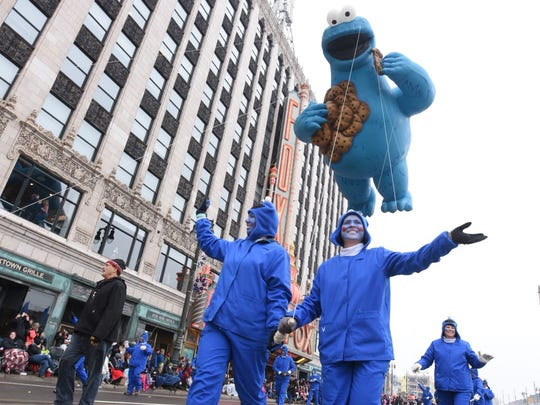 Cookie Monster floats down Woodward during the Thanksgiving Day parade in downtown Detroit on Thursday, Nov. 24, 2016.
