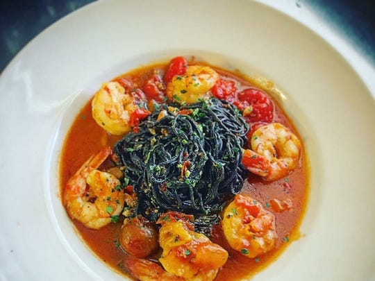 House-made squid-ink spaghetti with shrimp from McGregor Cafe in Fort Myers.