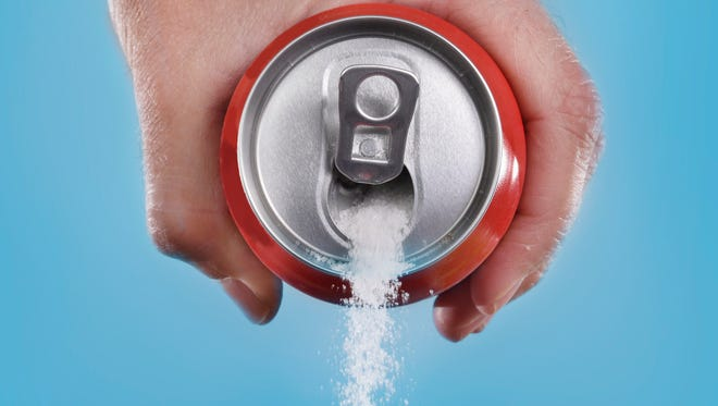 One 12-ounce can of soda has nine and one-half teaspoons of sugar. That's one adult's daily requirement for sugar.