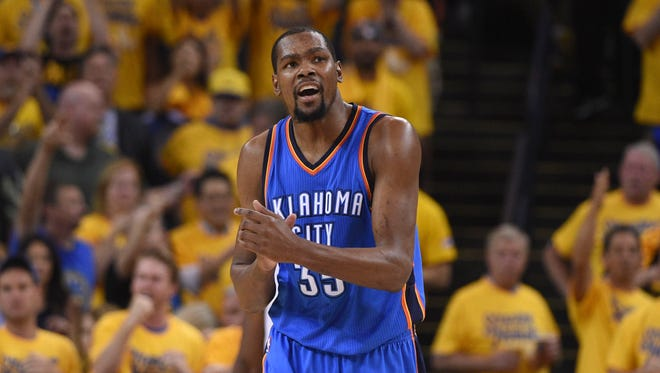 Oklahoma City Thunder forward Kevin Durant (35) reacts during the second quarter in game seven of the Western conference finals of the NBA Playoffs.