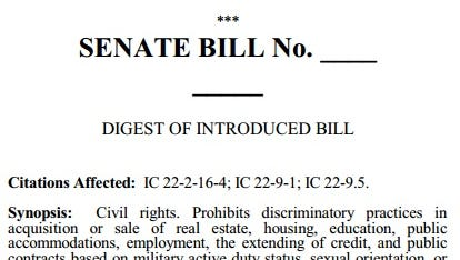 Digest of Senate Bill 100, as introduced Nov. 17, 2015. The measure seeks to expand protections for LGBT Hoosiers while providing exemptions for religious objectors.