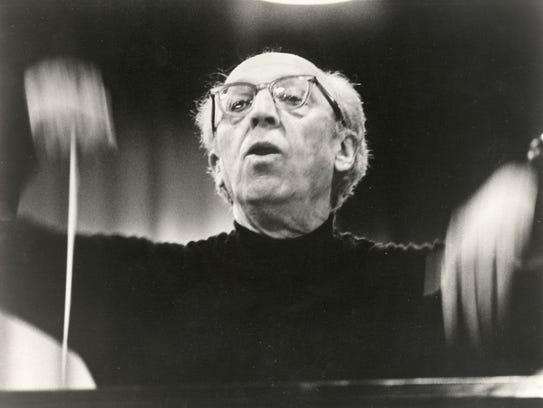 1974: Composer Aaron Copland conducting Enquirer file