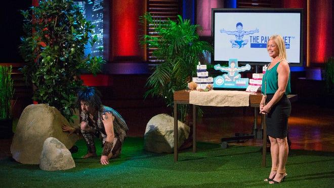 Shauna Sledge and her caveman husband Todd on Shark Tank.