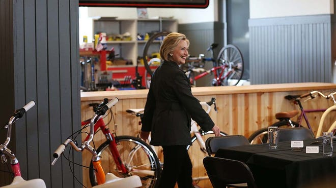 Hillary Clinton speaks to a group of small-business owners and community members on Tuesday, May 19, 2015, at Bike Tech in Cedar Falls.