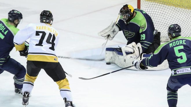 Pensacola Ice Flyers goalie John McLean stops the puck during Friday night's game at the Pensacola Bay Center.