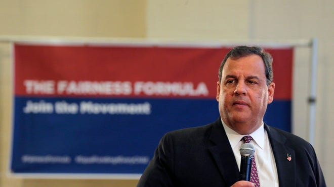 Governor Christie at a town hall event in Hanover Township on Monday.