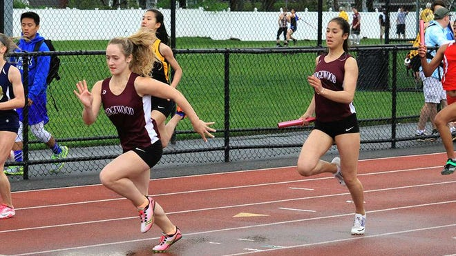 Freshmen Victoria Purritano (left) and Katherine Muccio, who gave a glimpse of their speed during the Bergen County Relays, picked up valuable points for Ridgewood in the sprint races at Monday's Big North Freedom Division girls track and field meet. Muccio was third in the 200-meter dash, and Purritano ran sixth in the 100.