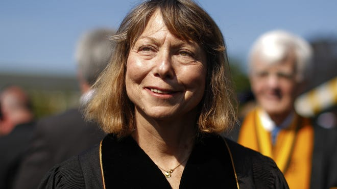 Jill Abramson, former executive editor at the New York Times walks in with faculty and staff during commencement ceremonies for Wake Forest University on May 19 in Winston Salem, North Carolina. Abramson delivered the commencement address at the university, her first public remarks since she was abruptly fired from her position.