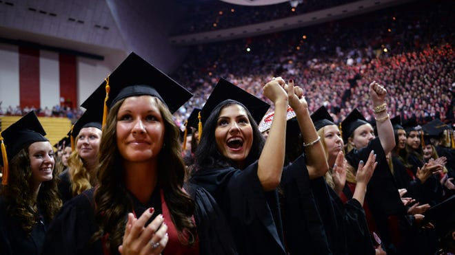 Indiana University students at graduation on May 10, 2014