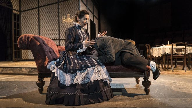 """University of Alabama Department of Theatre and Dance faculty member Kelley Schoger, seen here in a 2016 production of Ibsen's """"Ghosts"""" in the Allen Bales Theatre, will lead an online class built around the Alexander Technique Wednesday, as part of the department's online Movement Series."""