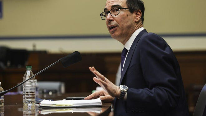 Treasury Secretary Steven Mnuchin testifies before the House Select Subcommittee on the Coronavirus Crisis, during a hybrid hearing, Tuesday, Sept. 1, 2020, on Capitol Hill in Washington.
