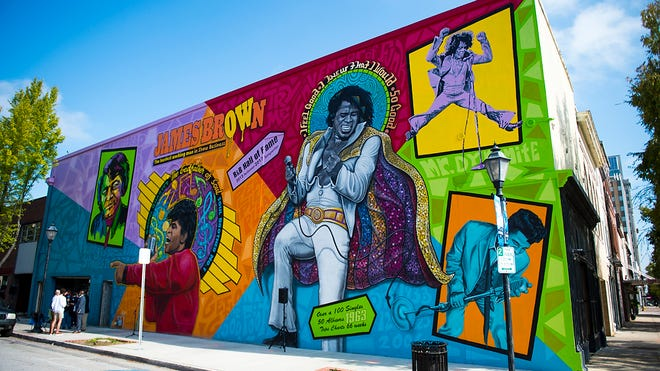 """""""The Spirit of Funk"""" mural paying tribute to James Brown was officially unveiled in November by artist Cole Phail. See it near the corner of Ninth and Broad streets."""