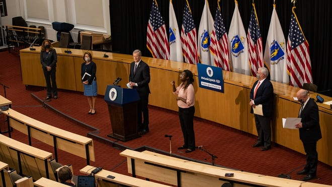 Gov. Charlie Baker, joined by three of his Cabinet secretaries and the lieutenant governor, detailed an economic recovery plan Thursday that includes millions of dollars in small business grants.