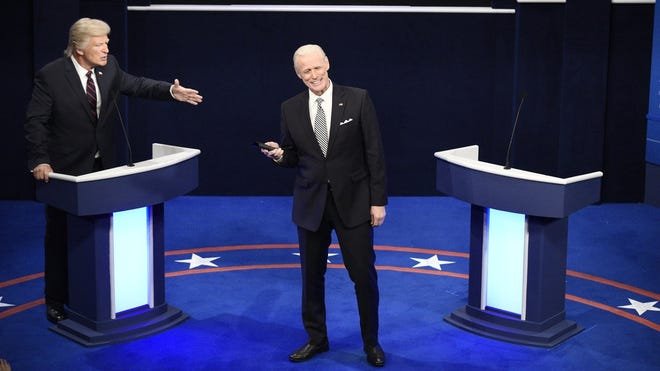 "Alex Baldwin as Donald Trump and Jim Carrey as Joe Biden during the ""First Debate"" Cold Open on the season premiere of ""Saturday Night Live,"" Oct. 3."