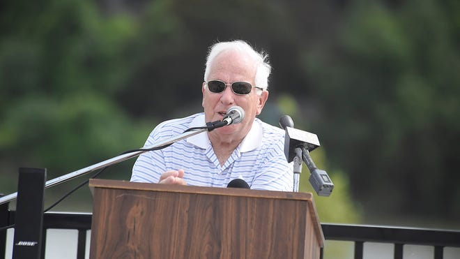 North Augusta Mayor Bob Pettit speaks the ribbon cutting ceremony for North Augusta's new amphitheater at Riverside Village in North Augusta, S.C., Friday afternoon June 26, 2020.