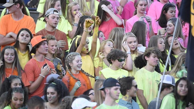 The Evans High School student section during a football game on Sept. 6, 2019. The Columbia County school district announced plans to social distance amid the coronavirus pandemic.