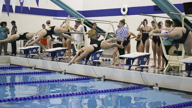 The Adrian and Tecumseh girls swimming teams meet during the 2019 season at Adrian High School.