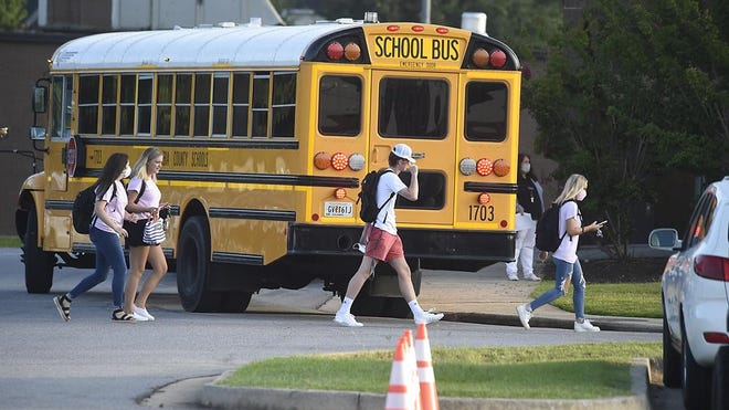 Students in Columbia County headed to school for the first day of classes in Evans, Ga., Monday morning, August 3, 2020.