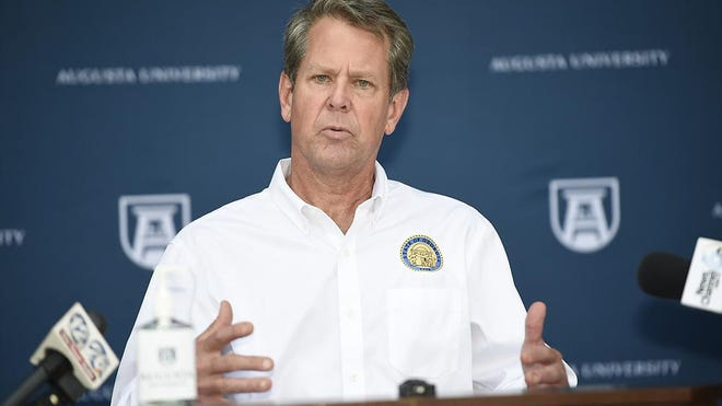 Georgia Gov. Brian Kemp speaks during a stop in Augusta earlier this month.