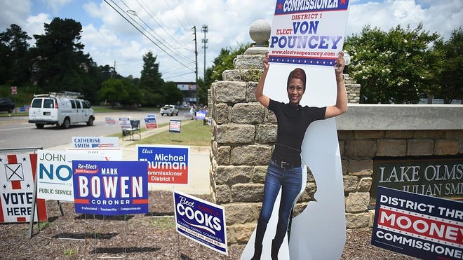 A life sized cutout of Augusta Commission candidate Von Pouncey at the Julian Smith Casino during election day in Augusta, Ga., Tuesday afternoon June 9, 2020.