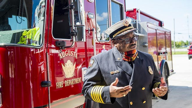 Augusta Fire Chief Christopher James talks to reporters about the new Augusta Fire Department's Station #2 in Augusta, Ga., Friday morning July 10, 2020.