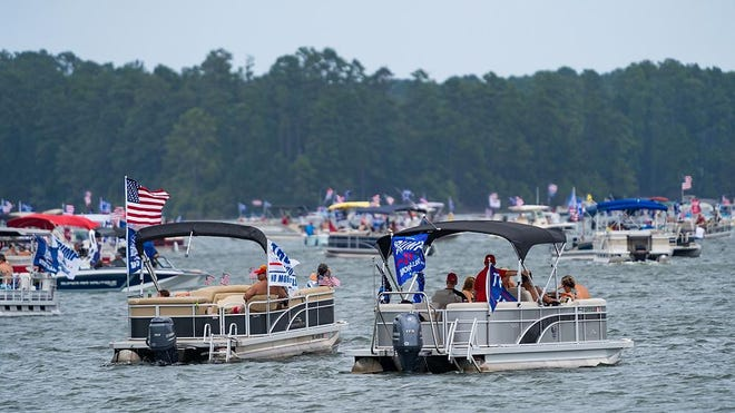 Tump supporters were out in force for a boat parade at Lake Thurmond Saturday afternoon August 29, 2020.
