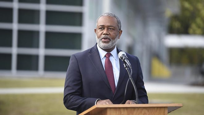 Augusta Mayor Hardie Davis speaks before cutting the ribbon to officially open the newly constructed Augusta Transit Center near the old Regency Mall in Augusta, Ga., Thursday morning October 22, 2020.