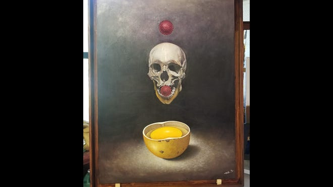 One of Talle Bamazi's in-progress paintings for a forthcoming coronavirus series