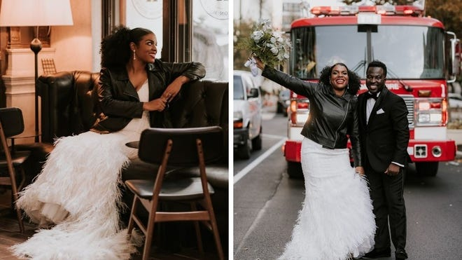 Kyla Denanyoh donned a leather jacket against the chilly November air when she married Theophilus Denanyoh.