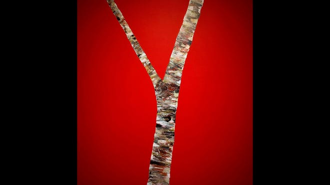A birch tree painted by Brian Reaume