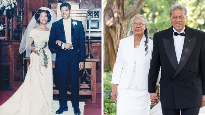 Marissa and Johnny Ragin on their wedding day and at their 50th anniversary party