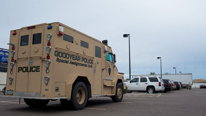 """The Goodyear Police amphibious vehicle, nicknamed """"the Bear"""" sits on the Walmart parking lot December 5, 2015 in Goodyear, Ariz."""