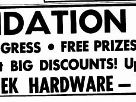 Ad for a liquidation sale at Rataichek Hardware in