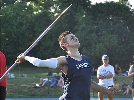 Carmel's Josh Beauchesne prepares to throw the javelin during the Section 1 championship at Hendrick Hudson. Beauchesne won the boys title.