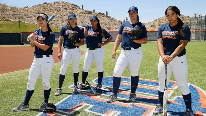 These five UTEP seniors played in their final softball game of their college careers Sunday. They are Kiki Pepi, Erika Harrawood, Taylor Grohmann, Kaitlin Fifield and Miranda Gutierrez.