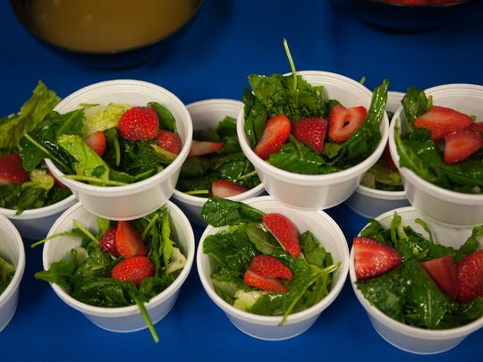 Salads are shown on a buffet line at Vineland High School. Sodexo is looking to tweak menu at Vineland High School while getting students to taste the options and make recommendations.