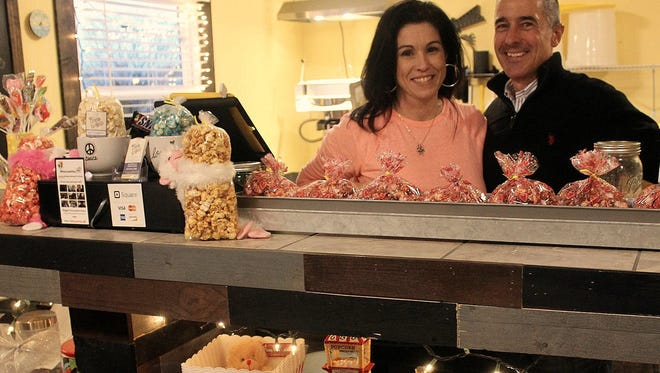 Amy DiPrima and Mike Gardula own Prima Pop gourmet popcorn on West Main Street in Victor.
