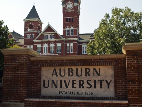 AUBURN, AL - SEPTEMBER 22: A general view of an Auburn University sign with Samford Hall in the background on campus of Auburn University on September 22, 2012 in Auburn, Alabama. (Photo by John Korduner/Replay Photos via Getty Images)