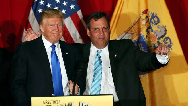 In this May 19, 2016, file photo, Donald Trump, left, stands with New Jersey Gov. Chris Christie, at a Trump campaign event in Lawrenceville, N.J. Christie, who was replaced as head of the president-elect's transition team, said Tuesday, Nov. 15, 2016, there's no strain in his relationship with Trump.