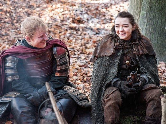 """Ed Sheeran, left, and Maisie Williams are seen in """"Game"""