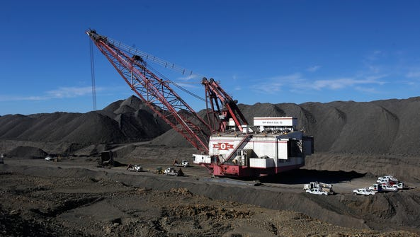 A drag line operates at the Dixon Pit in March at the
