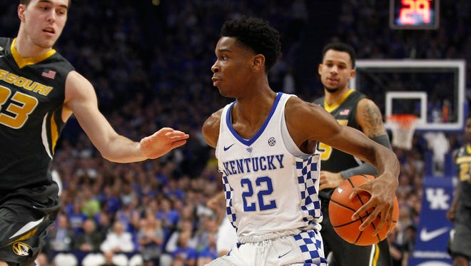 Feb 24, 2018; Lexington, KY, USA; Kentucky Wildcats guard Shai Gilgeous-Alexander (22) dribbles the ball against the Missouri Tigers in the first half at Rupp Arena. Mandatory Credit: Mark Zerof-USA TODAY Sports