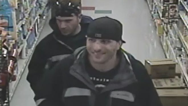 Surveillance footage shows two men who purchased 8 big boxes of matches after allegedly stealing iodine.