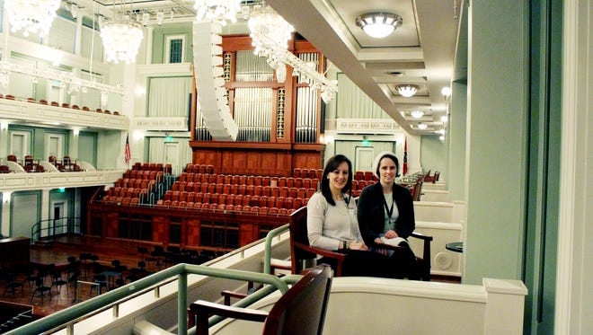 "Kathleen Simcoe, left, a TRIAD educational consultant, and Kelley Bell, education and community engagement program manager for Nashville Symphony, pose for a photo at Nashville Symphony, where they helped train staff for the upcoming ""Reach for the Stars"" sensory-friendly performance."