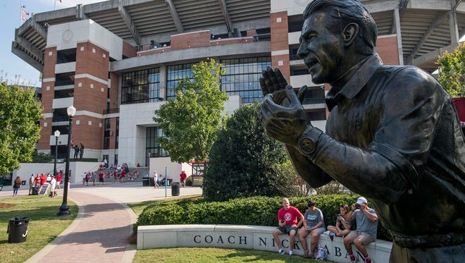 The Statue of Nick Saban in front of Bryant - Denny Stadium before the Alabama vs. Ole Miss game in Tuscaloosa, Ala. on Saturday September 30, 2017. (Mickey Welsh / Montgomery Advertiser)