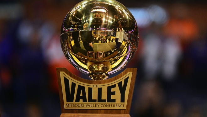 Mar 6, 2016; St. Louis, MO, USA; Northern Iowa Panthers are presented the valley trophy after defeating the Evansville Aces in the championship game of the Missouri Valley Conference tournament at Scottrade Center. Northern Iowa defeated Evansville 56-54.