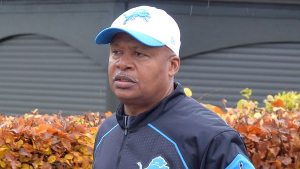 Detroit Lions coach Jim Caldwell watches practice in