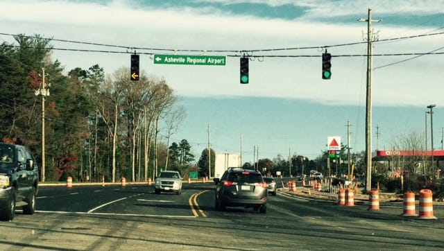 The lights heading into Asheville Regional Airport, will be replaced soon with a leading green.